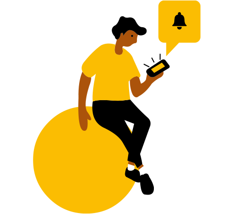 lady sitting on ball with smartphone